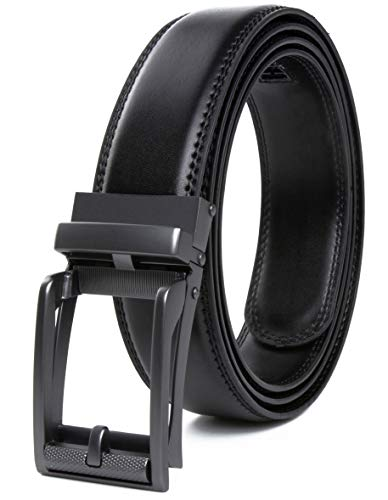 CONTACTS Men's Auto Lock Buckle Belt (Black, Free Size)