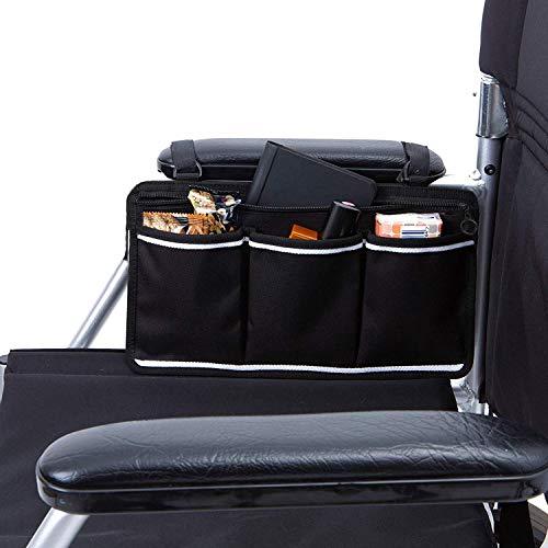 AUVSTAR Bolsa de almacenamiento para silla de ruedas Bolsa,Bolsa de accesorios de silla de ruedas, Personas mayores, discapacitados - Bolsa de silla de ruedas con manos libres. (Negro)