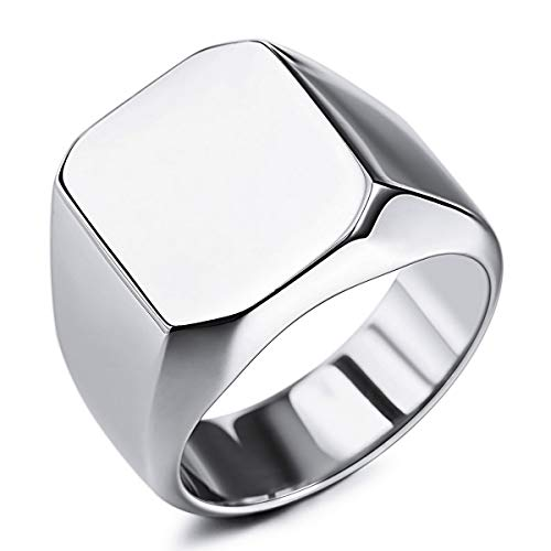 MunkiMix Anillo de sello para hombres Mujeres Niños 316l Anillos para hombre resistentes al agua Estilo cuadrado de acero inoxidable, paquete con ajustadores de tamaño de anillo (Plata Color, Talla P)