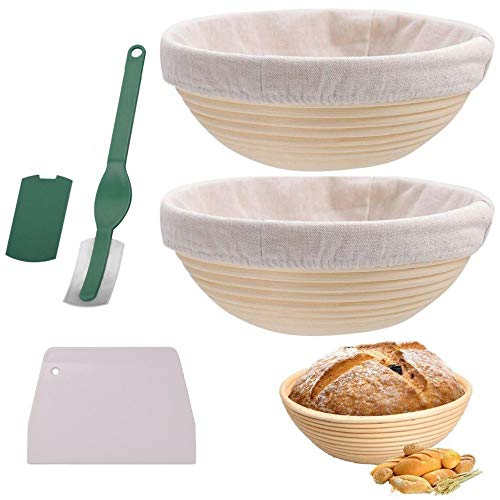 2 Pack 9 Inch Round Bread Banneton Proofing Basket for Sourdough, include 1x Dough Scraper, 2x Cloth Lining, 1x Plastic bread lame, Everything Needed for Delicious Artisan Bread
