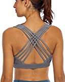 YIANNA Sports Bras for Women - Medium Support Strappy Sports Bra Padded for Yoga, Running, Fitness - Athletic Gym Tops,YA-BRA147-Grey-L