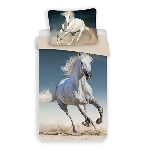 Jerry Fabrics Horse 03 Bett, 100{69b249680124b0afb0777ca4fe463ca30e66c495ffc9a373702197b3c92fc075} Baumwolle, Beige, Blau, Weiß, One Size 140x200 + 70x90 cm