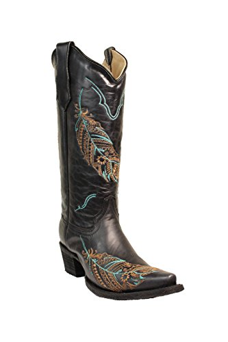 Corral Circle G Women's 14-inch Black Turquoise/Tan Feather Embroidery Snip Toe Pull-On Cowboy Boots - 5.5 B