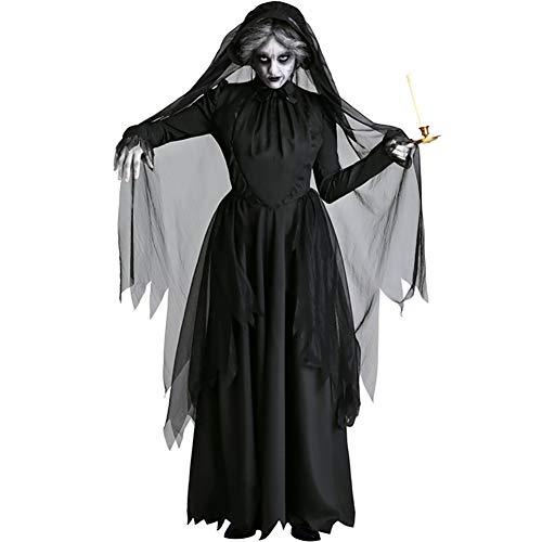 BRAZT Unisex Cosplay Capa, Disfraz Fallen Angel, con Capucha del Partido De Cosplay del Cuervo Capes,Ghost (a),L