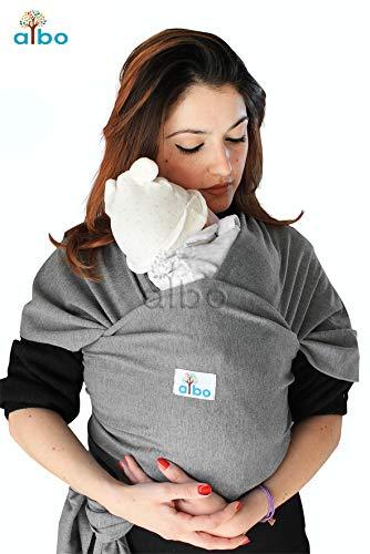 Fascia Porta Bambino albo – Fascia Porta Bebè in Cotone Leggero, Facile da Indossare, Marsupio canguro Neonato mamma, baby wrap grigio scuro, per Bimbo fino a 15kg