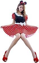 thematys® Mini Vestido para ratón de Minnie Mouse con Lunares Blancos y Anillos para el Cabello - Conjunto de Disfraces para Damas Carnaval y Cosplay (Large)