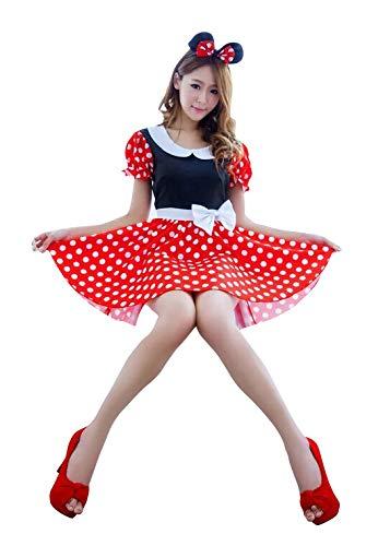 thematys Mini Vestido para ratón de Minnie Mouse con Lunares Blancos y Anillos para el Cabello - Conjunto de Disfraces para Damas Carnaval y Cosplay (Medium)