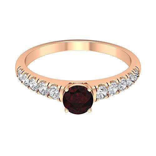 Rosec Jewels - Anillo de compromiso de granate de 1/2 quilates con acento de diamante, anillo de oro vintage (granate de 5 mm de corte redondo), 14K Oro rosa, Size:EU 49