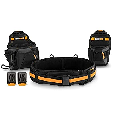ToughBuilt - Handyman Tool Belt Set - Includes 2 Pouches, Padded Belt, Heavy Duty, Deluxe Organizer Premium Quality - 10 Pockets, Hammer Loop, 2 Patented ClipTech Hubs - (3 Piece) (TB-CT-111C) by ToughBuilt