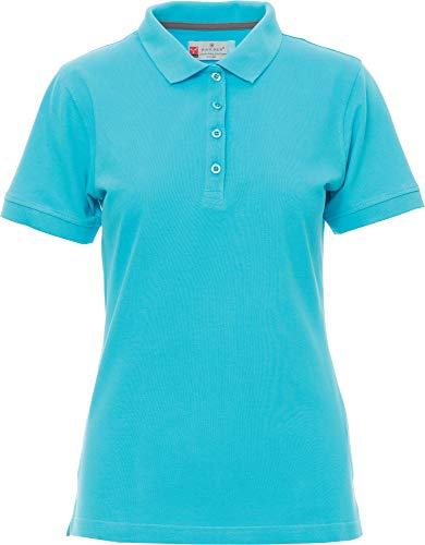 PAYPER Damen Polohemd Venice 100% Baumwolle Kurzarm 4 Knöpfe Nackenband, Ocean L