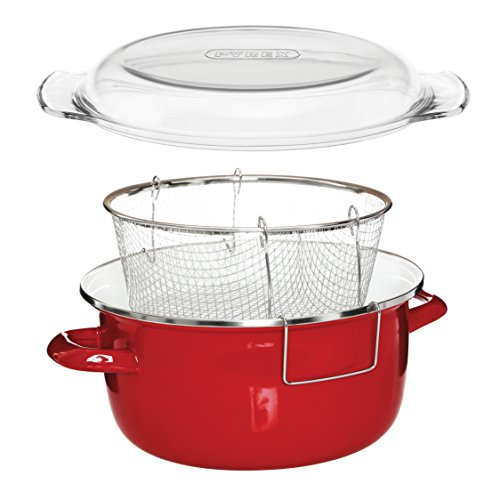 Premier Housewares 102114 Deep Fryer Friteuse, emaille, 5 liters, rot