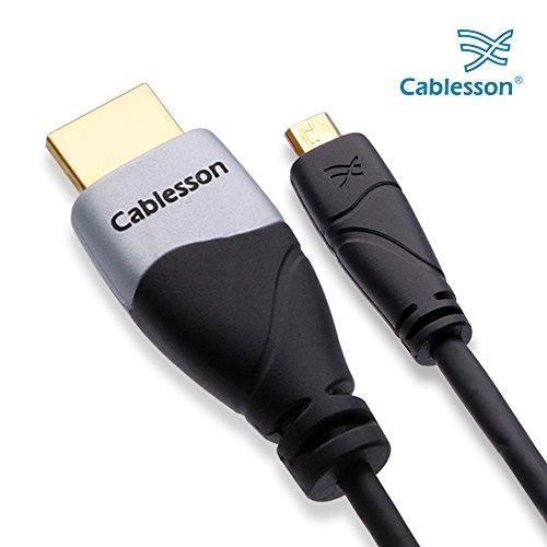 Cablesson Câble Ivuna Micro HDMI vers HDMI Haut Débit de avec Ethernet 3m (HDMI Type D) Compatible avec HDMI 2.1, 2.0a, 2.0, 1.4a - 4k, Ultra HD, Arc, HDR, 2160p - Noir