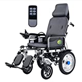 DGPOAD Heavy Duty Electric Wheelchair with Headrest,foldable Folding and Lightweight Portable Powerchair with Remote Control,electric Power or Manual Manipulation,adjustable Backrest and Pedal