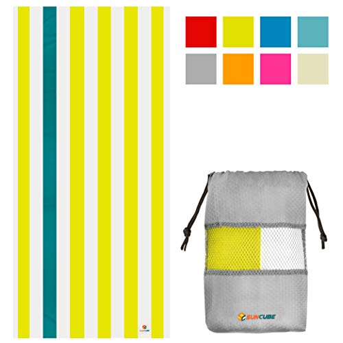 SUN CUBE Microfiber Beach Towel   Sand Free Towel, Lightweight, Quick Dry, Compact Swim Towel for Adults   Packable Easy to Carry Towel for Beach, Pool, Camping, Travel (Yellow, 60x30 Inches)