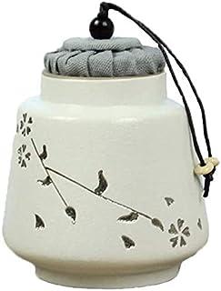 Garden Cremation Urns for Ashes Storage Box CHIHEN Mini Cremation Urns Pet Funeral Silver Cherry Blossom Stoneware Retro M...