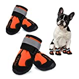 Hcpet Dog Boots, Waterproof Dog Shoes, Dog Booties with Reflective Rugged Anti-Slip Sole and Skid-Proof, Outdoor Dog Rain Boots for Small to Large Dogs, Four Ways Stretch Paw Protectors 4Ps