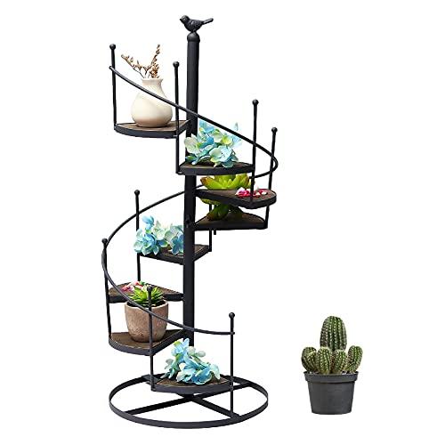 GJCrafts Étagère Porte Mini Plante Pot Fleur en Métal, Support de Plante Succulente 8 Étages Rétro, Application pour Mini Plantes, Petits Jouets Décoration D'intérieur (23 x 23 x 56 cm)