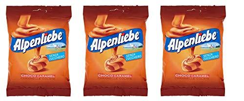 3x Perfetti Alpenliebe Choco Caramel Caramelle Colate Bonbon Geschmack Schoko-Karamell Glutenfrei zuckerfreie Süßigkeiten Lollies 80g Beutel