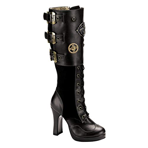 Demonia Crypto-302 - gotica punk Steampunk mini plataforma botas zapatos de tacón mujer - tamaño 36-43, US-Damen:EU-40/41 / US-10 /...