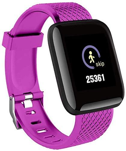 Smartwatch mit Blutdruck-, Sauerstoff-, Herzfrequenz-, Schlaf-Monitor, Smart-Armband, Armbanduhr, wasserdicht, Sport-Schrittzähler (Farbe: Violett)