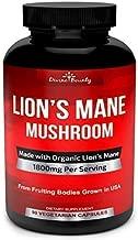 Organic Lions Mane Mushroom Capsules - 1800mg Strongest Lion's Mane Mushroom Supplement - Non-GMO Nootropic Brain Supplement & Immune System Booster from Mushroom Extract Powder - 90 Vegetarian Caps