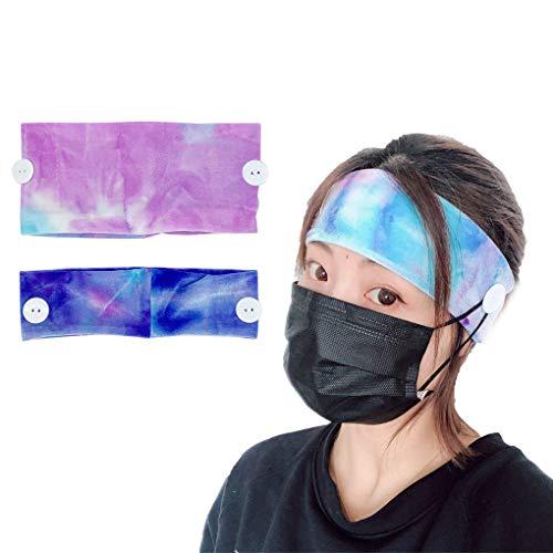 Yogwoo Stirnbänder für Damen, für Krankenschwestern, Samt, mit Knöpfen, Haarband, Sport, Waschen, Gesicht, 2 Stück (dünn + breit), elastisch, rutschfest -  Blau -  Einheitsgröße