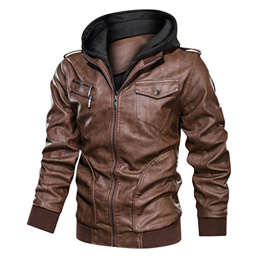 For Sale! Men's Fashion Jacket Pure Color Zipper Stand Collar Imitation Leather Coat Tops Brown