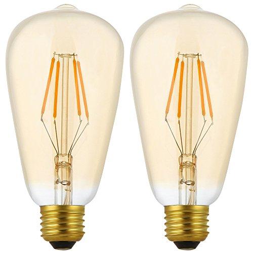 2X E27 Bombillas Filamento LED 4W Dimmable Bombilla Edison ST64 Bombilla Retro Vintage Blanco Cálido 400LM Super Brillante Edison LED AC 220V