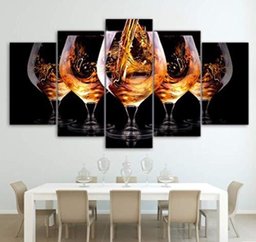 xvpeen Cuadro sobre Lienzo - 5 Piezas del Cuadro HD Pintura Decorativa 5 Hechizo Chorro De Tinta Vino Vino Bar En Casa Restaurante Pinturas 30X50Cmx2 30X70Cmx2 30X80Cmx1 Sin Marco