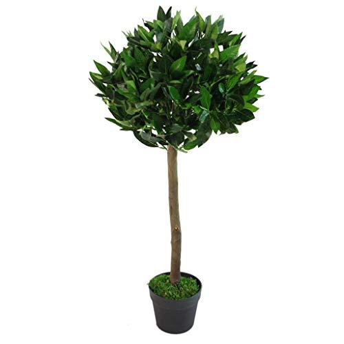 Leaf Árbol de Laurel Artificial, Tallo Trenzado o Liso, en Maceta de plástico Negro, Verde, 90 cm