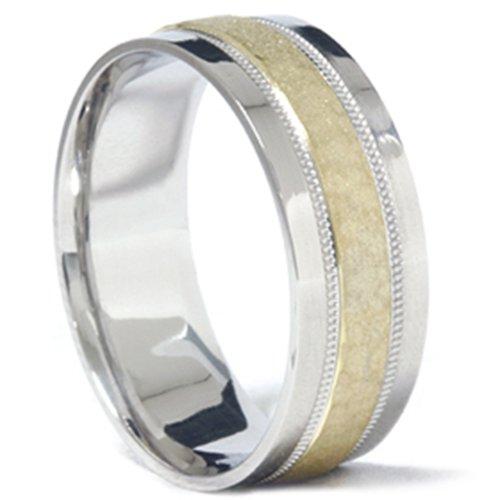 Para hombre 950platino y 18K oro martillado boda banda anillo