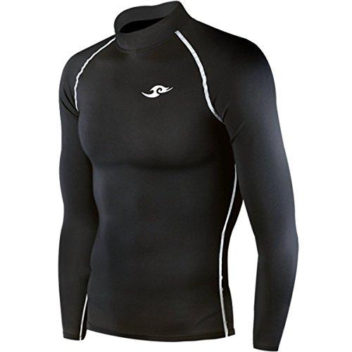 Magliettaa compressione per uomo, nera, ideale per la corsa Black Small