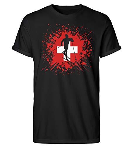 Camiseta para hombre Rollup de la Copa Mundial de Esquí de Suiza | 727 Negro XL