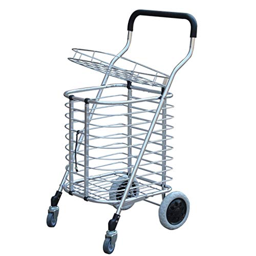 Carros de la Compra, Escalera Que Sube Tienda de la Ropa del lavadero de la Tienda de comestibles con la Rueda giratoria 360 ° Capacidad Que Lleva del Carro de la Compra: 45kg (Color : Metallic)