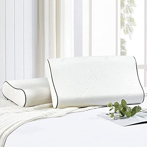 Wavve Almohada Viscoelástica 70 x 40 cm, Almohada Cervical Ergonómica de Memoria Forma con Cubierta de Fibra de Bambú para Reducir Dolores de Cuello (40 x 70 cm)