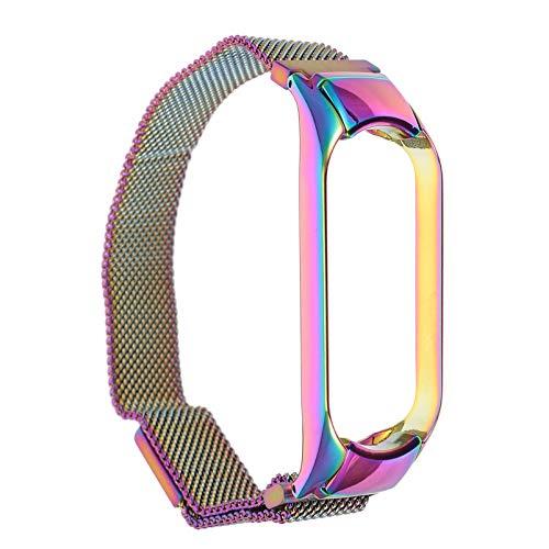 ibasenice Colorido Reloj de Acero Inoxidable Correa de Reloj de Repuesto Pulsera de Metal Sólido Pulsera Compatible para Xiaomi Mi Band 5