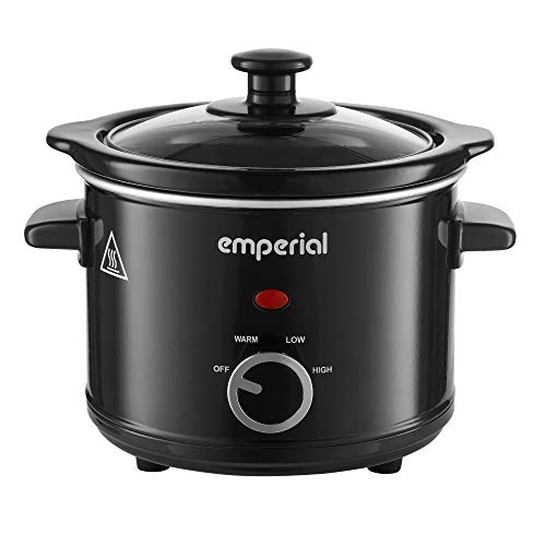 Emperial Slow Cooker With Removable Ceramic Pot, 3 Heat Settings – High/Low and Keep Warm Function, Tempered Glass Lid - For Soups, Casseroles, Sear & Stews - 1.5 Litre, 120W, Black