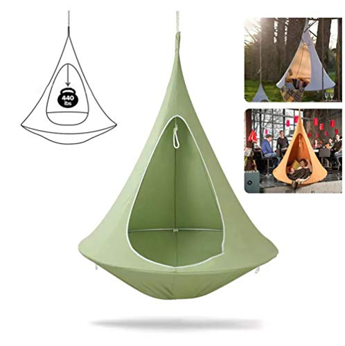 Yuaty Waterproof Pod Swing Seat, Shape Conical Tent Hanging Tree Tent Suit for Adult And Kids Indoor Outdoor,Green,100 * 110cm
