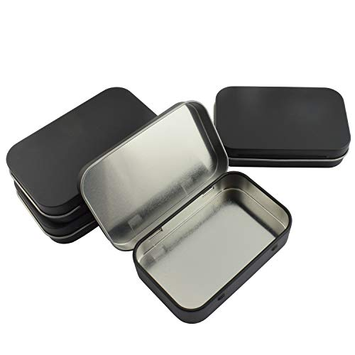 Partstock 4pcs Rectangular Hinged Metal Storage Box Container with Lid,Multipurpose Portable Small Tin Boxes Empty Containers for Home Travel Outdoor Activities(Black)