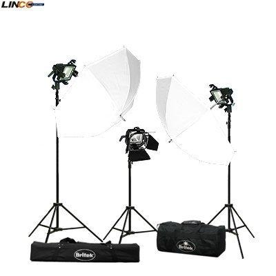 Britek#900HK 3x300w Halogen Light Kit with 3 bulb+2 White Photo Umbrella+3 Compact Light Stand+1 Barndoor+2 Carrying Bag
