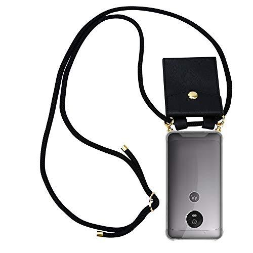 Cadorabo Handy Kette für Motorola Moto G5 in SCHWARZ – Silikon Necklace Umhänge Hülle mit Gold Ringen, Kordel Band Schnur & abnehmbarem Etui – Schutzhülle