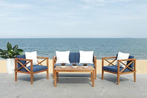 Safavieh PAT7031E Collection Nunzio Teak 4 Pc Accent Pillows Outdoor Set, Natural/Navy