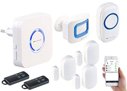 VisorTech drahtlose Alarmanlage: 8-TLG. WLAN-Alarmanlage, Klingel, Alexa-kompatibel, bis zu 50 Sensoren (Alarmanlage mit Haustürklingel)