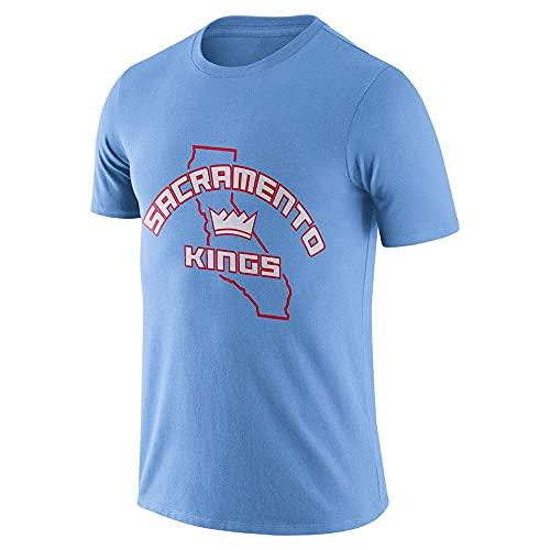 Camiseta De Baloncesto para Hombre, NBA Sacramento Kings Baloncesto Deportes De Manga Corta, Fans Sudadera Uniforme Tops Sueltos,Light Blue,XXL(180~190cm)