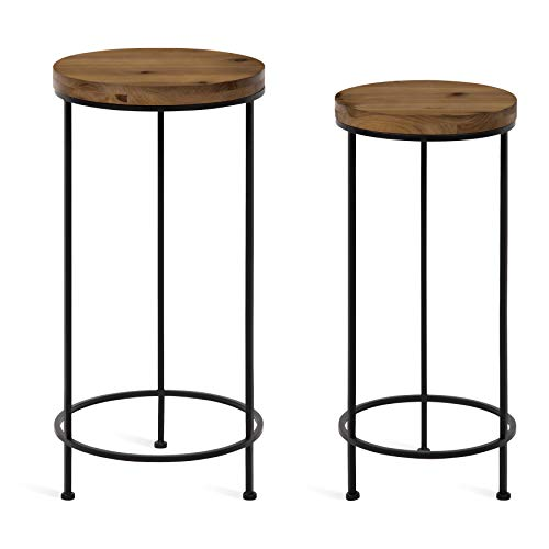 Kate and Laurel Espada Rustic Round End Table, Set of 2, Rustic Wood and Black...