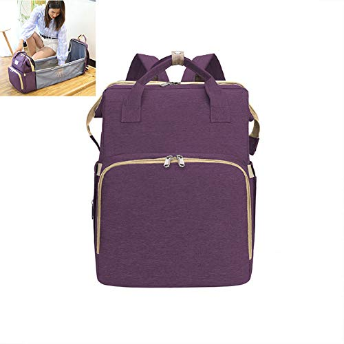XRQ 4-In-1 Convertible Baby Diaper Bag - Get Organized with Multi-Purpose Travel Baby Bag - Includes Bassinet Changing Pad - Lightweight Design Wears 4 Ways - Portable Baby Bed,Purple