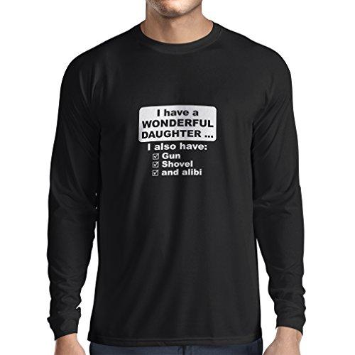 lepni.me T-Shirt Manches Longues Homme J'Ai Une Fille Merveilleuse, Arme à feu, Pelle, Alibi, Cadeau d'humour (Small Noir Blanc)