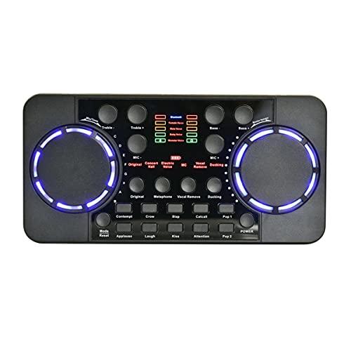 Riiai Tarjeta de sonido V300 Pro, 10 efectos de sonido portátil multifuncional externo en vivo sonido Bluetooth reducción de ruido mezcladores de audio, micrófono control de voz para teléfono PC
