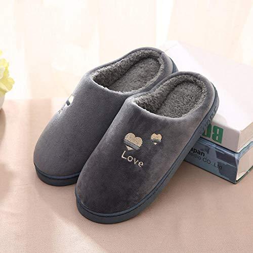 FLHLH Zapatillas de Felpa para Adultos,Zapatillas de algodón Antideslizantes de Suela Gruesa, Zapatos de algodón de Felpa cálidos para Interiores, Zapatos con Suela de Goma, Fresno Verde_41-42