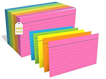 1InTheOffice Ruled Neon Index Cards Index Cards 3x5 Assorted Neon Color 300/Pack